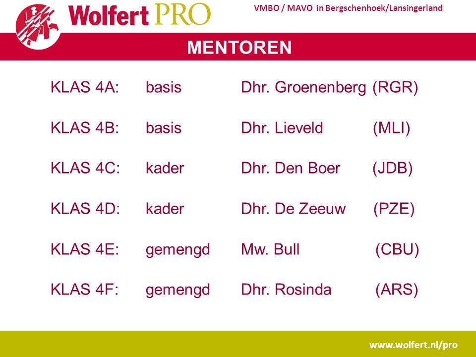 www.wolfert.nl/pro VMBO / MAVO in Bergschenhoek/Lansingerland MENTOREN KLAS 4A: basisDhr.