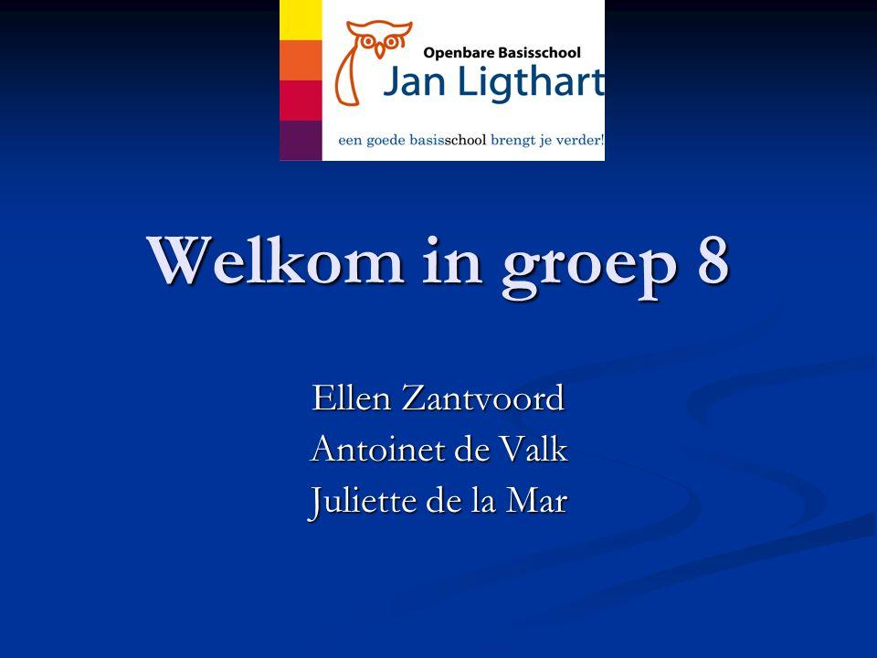 Welkom in groep 8 Ellen Zantvoord Antoinet de Valk Juliette de la Mar