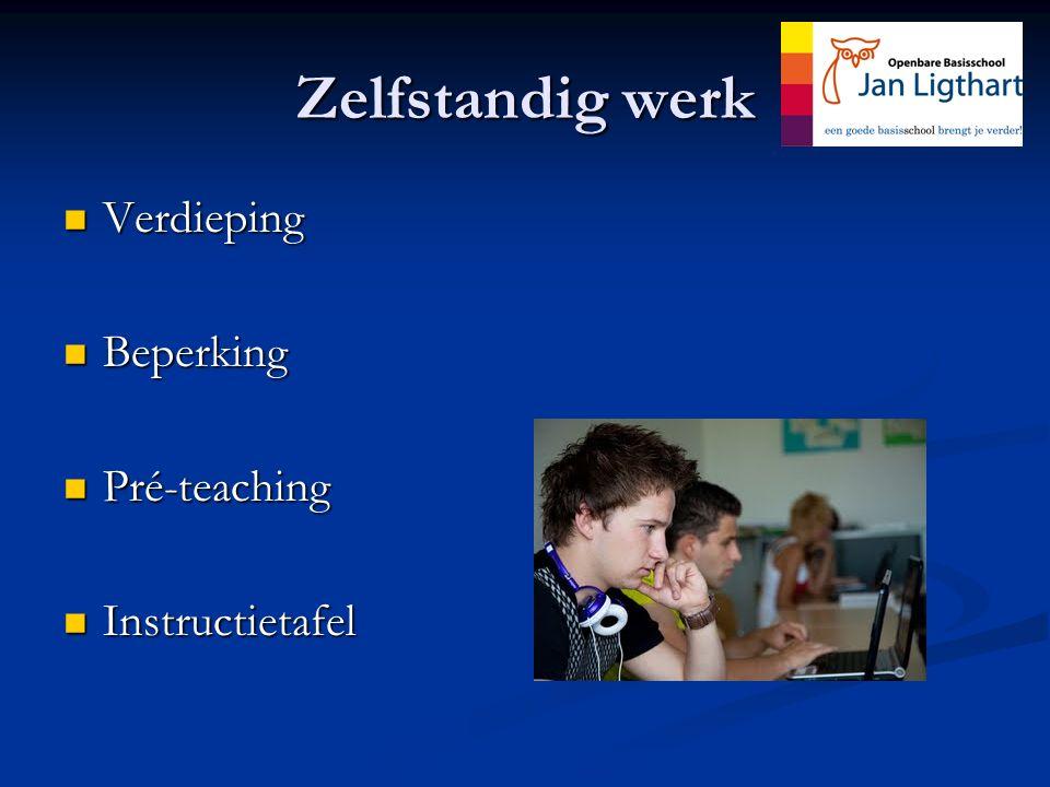 Zelfstandig werk Verdieping Verdieping Beperking Beperking Pré-teaching Pré-teaching Instructietafel Instructietafel