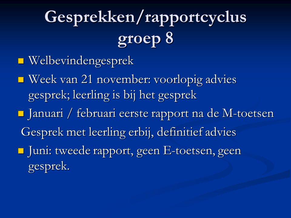 Gesprekken/rapportcyclus groep 8 Welbevindengesprek Welbevindengesprek Week van 21 november: voorlopig advies gesprek; leerling is bij het gesprek Wee
