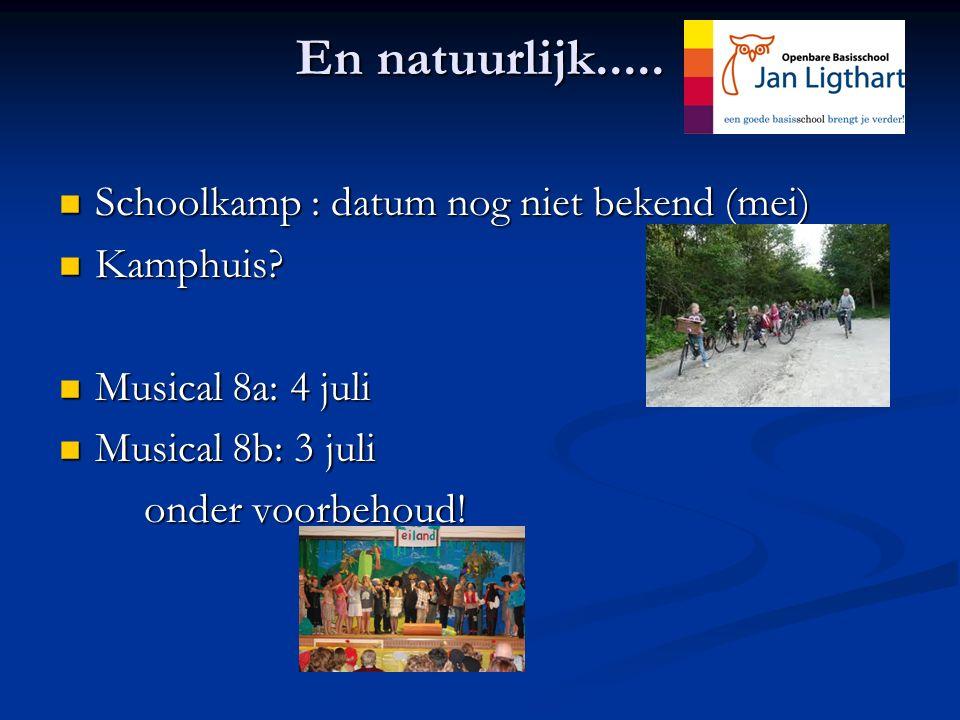 En natuurlijk..... Schoolkamp : datum nog niet bekend (mei) Schoolkamp : datum nog niet bekend (mei) Kamphuis? Kamphuis? Musical 8a: 4 juli Musical 8a