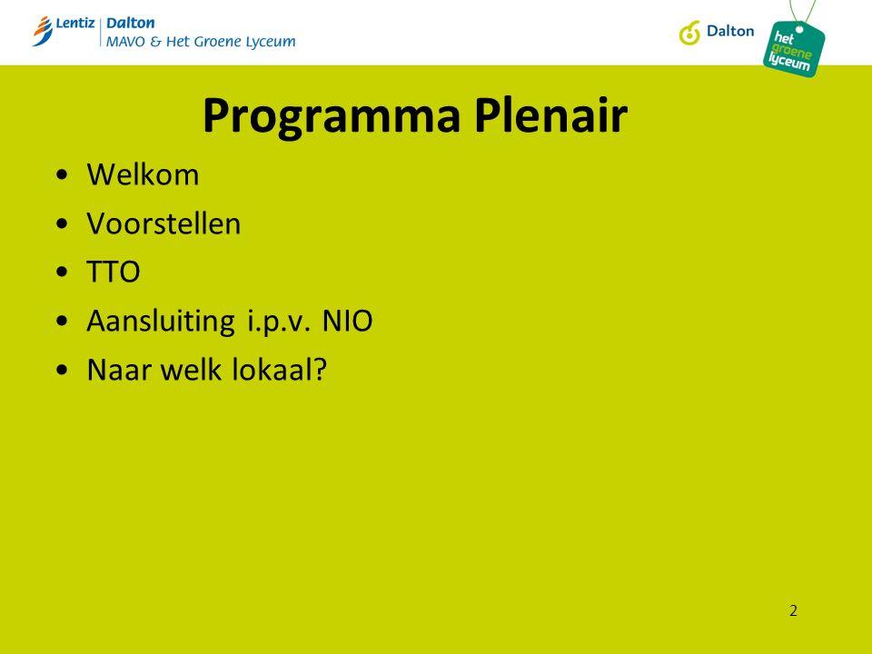 Programma Plenair Welkom Voorstellen TTO Aansluiting i.p.v. NIO Naar welk lokaal 2