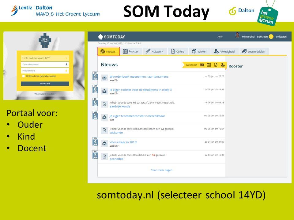 SOM Today somtoday.nl (selecteer school 14YD) Portaal voor: Ouder Kind Docent