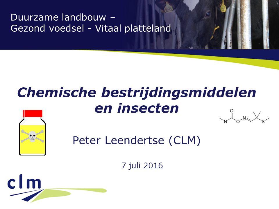 Duurzame landbouw – Gezond voedsel - Vitaal platteland Chemische bestrijdingsmiddelen en insecten Peter Leendertse (CLM) 7 juli 2016