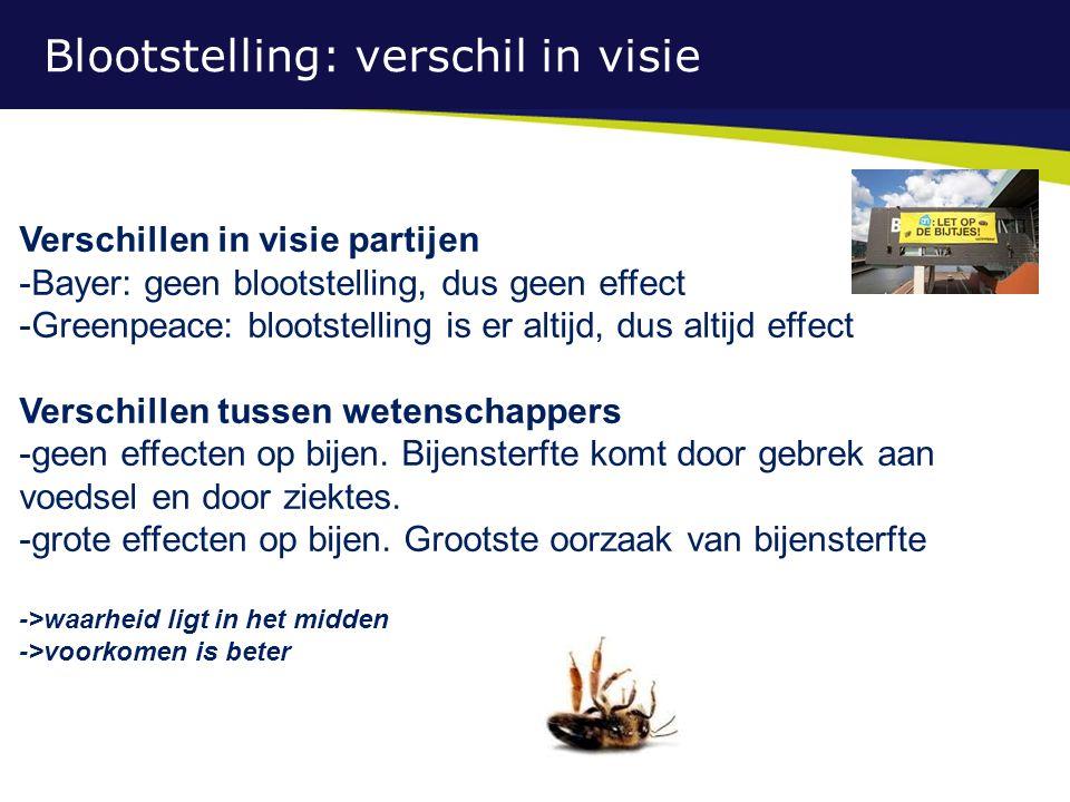 Blootstelling: verschil in visie Verschillen in visie partijen -Bayer: geen blootstelling, dus geen effect -Greenpeace: blootstelling is er altijd, dus altijd effect Verschillen tussen wetenschappers -geen effecten op bijen.