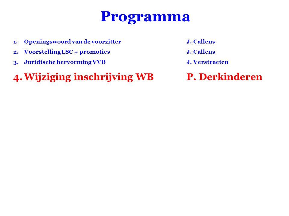 Programma 1.Openingswoord van de voorzitter J. Callens 2.Voorstelling LSC + promotiesJ. Callens 3.Juridische hervorming VVBJ. Verstraeten 4.Wijziging