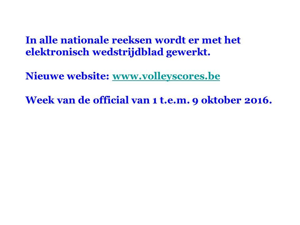 In alle nationale reeksen wordt er met het elektronisch wedstrijdblad gewerkt. Nieuwe website: www.volleyscores.bewww.volleyscores.be Week van de offi