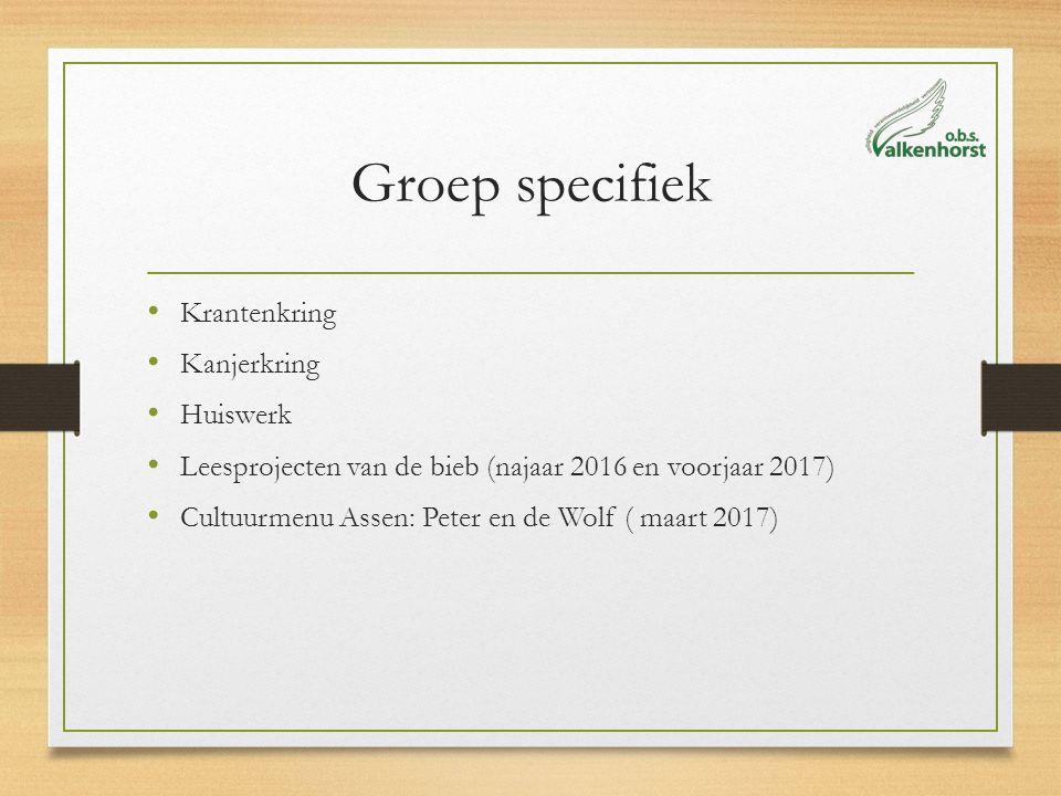Groep specifiek Krantenkring Kanjerkring Huiswerk Leesprojecten van de bieb (najaar 2016 en voorjaar 2017) Cultuurmenu Assen: Peter en de Wolf ( maart 2017)