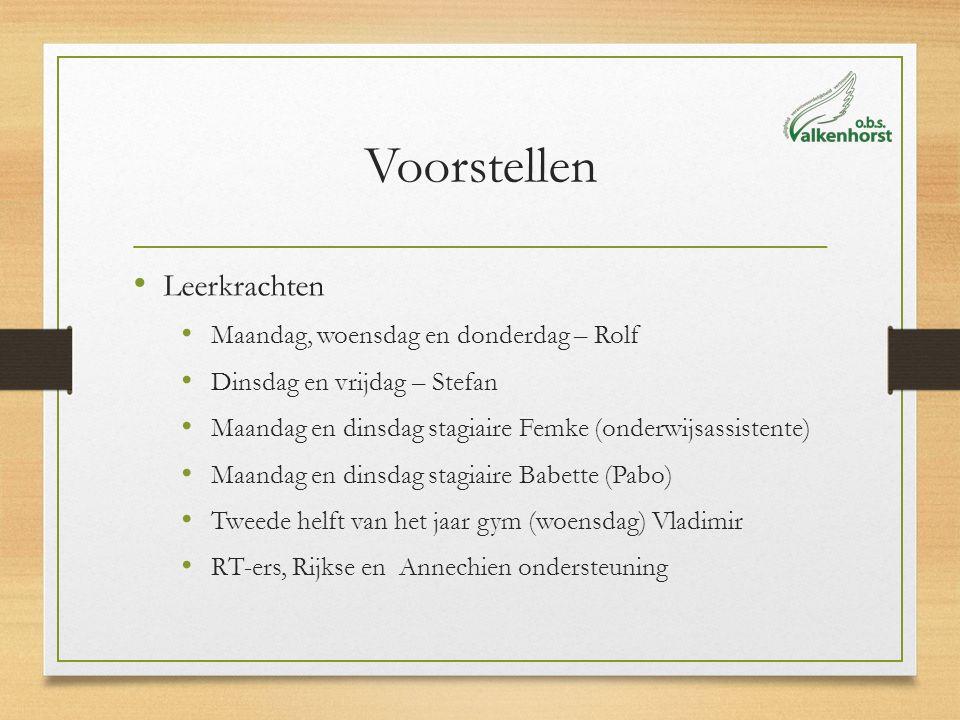 Voorstellen Leerkrachten Maandag, woensdag en donderdag – Rolf Dinsdag en vrijdag – Stefan Maandag en dinsdag stagiaire Femke (onderwijsassistente) Ma