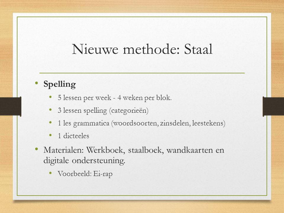 Nieuwe methode: Staal Spelling 5 lessen per week - 4 weken per blok. 3 lessen spelling (categorieën) 1 les grammatica (woordsoorten, zinsdelen, leeste