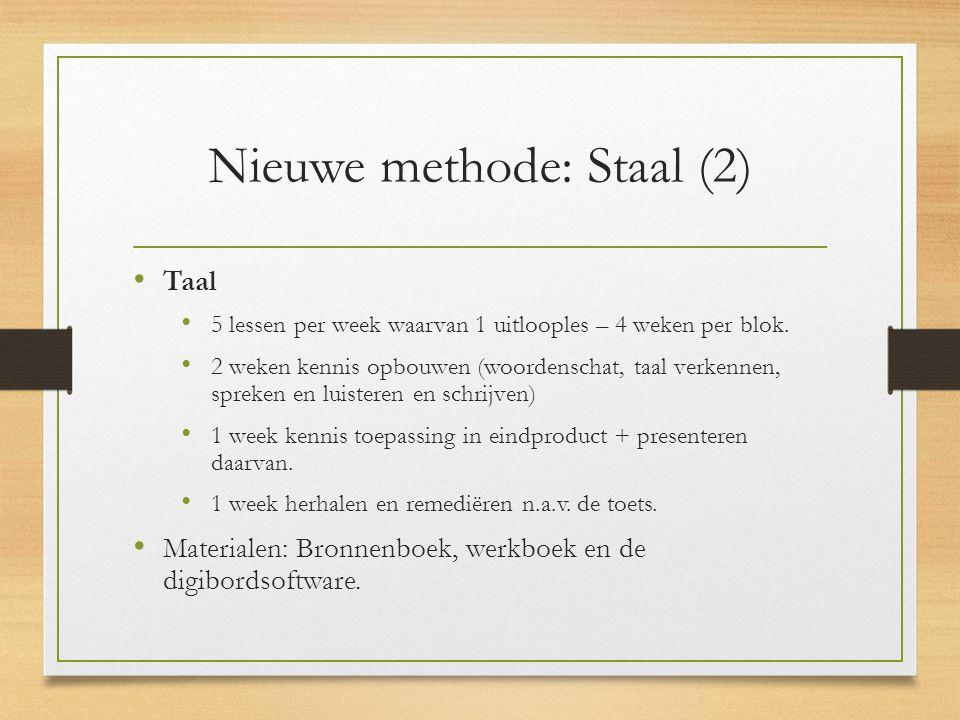 Nieuwe methode: Staal (2) Taal 5 lessen per week waarvan 1 uitlooples – 4 weken per blok. 2 weken kennis opbouwen (woordenschat, taal verkennen, sprek