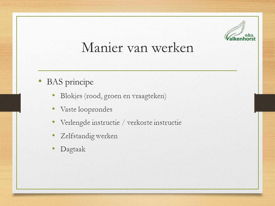 Manier van werken BAS principe Blokjes (rood, groen en vraagteken) Vaste looprondes Verlengde instructie / verkorte instructie Zelfstandig werken Dagt