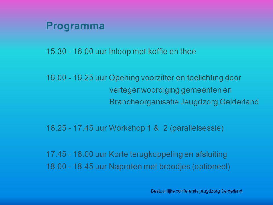 15.30 - 16.00 uur Inloop met koffie en thee 16.00 - 16.25 uur Opening voorzitter en toelichting door vertegenwoordiging gemeenten en Brancheorganisati
