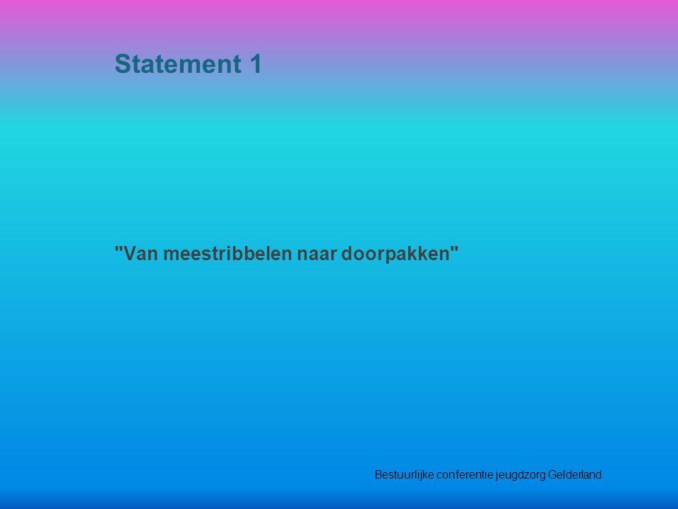 Van meestribbelen naar doorpakken Statement 1 Bestuurlijke conferentie jeugdzorg Gelderland