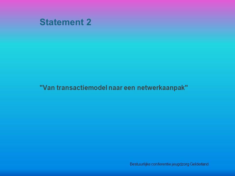 Van transactiemodel naar een netwerkaanpak Statement 2 Bestuurlijke conferentie jeugdzorg Gelderland