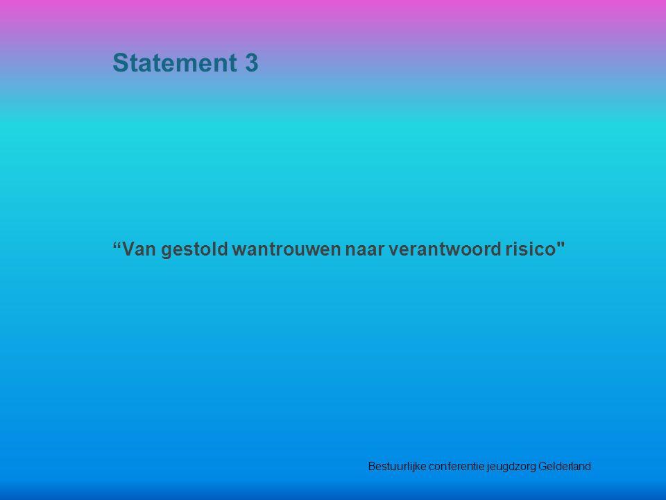 Van gestold wantrouwen naar verantwoord risico Statement 3 Bestuurlijke conferentie jeugdzorg Gelderland