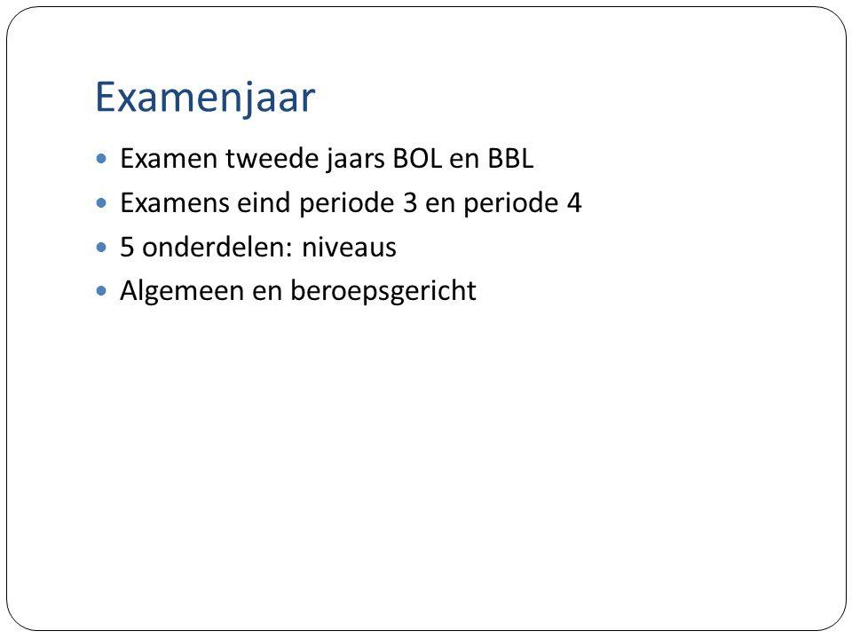 Examenjaar Examen tweede jaars BOL en BBL Examens eind periode 3 en periode 4 5 onderdelen: niveaus Algemeen en beroepsgericht