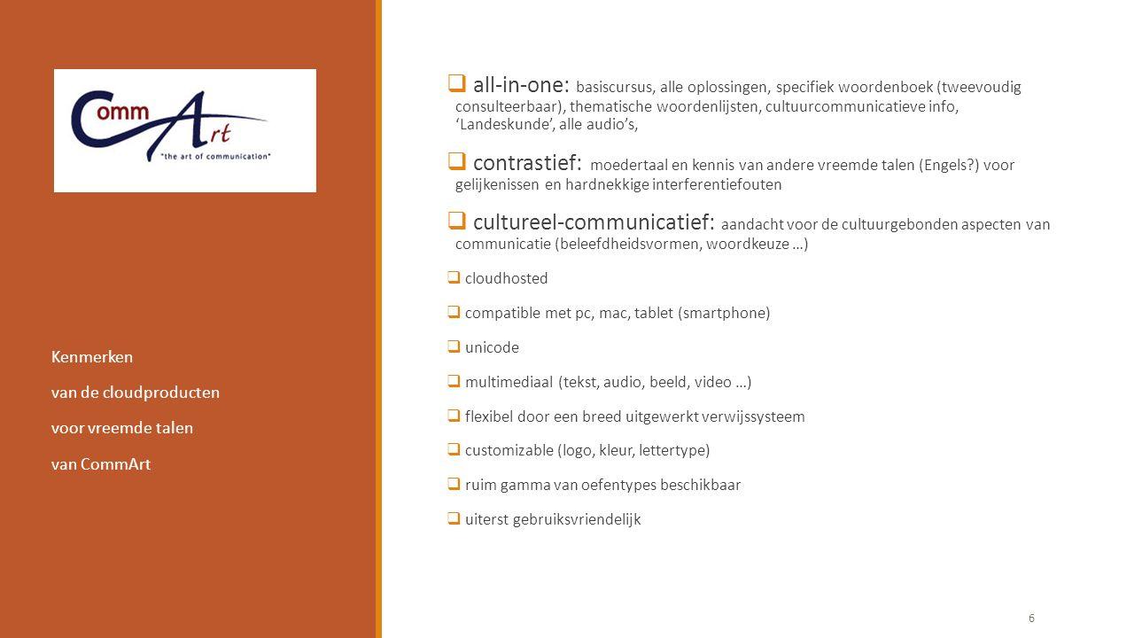  all-in-one: basiscursus, alle oplossingen, specifiek woordenboek (tweevoudig consulteerbaar), thematische woordenlijsten, cultuurcommunicatieve info