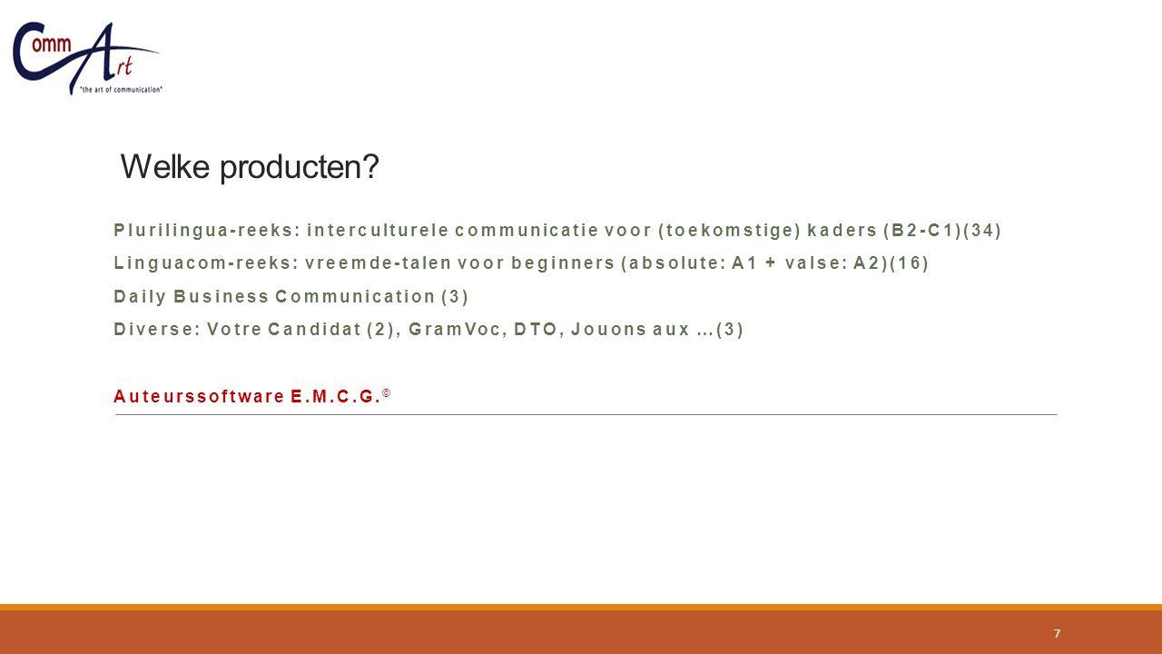 Welke producten? Plurilingua-reeks: interculturele communicatie voor (toekomstige) kaders (B2-C1)(34) Linguacom-reeks: vreemde-talen voor beginners (a