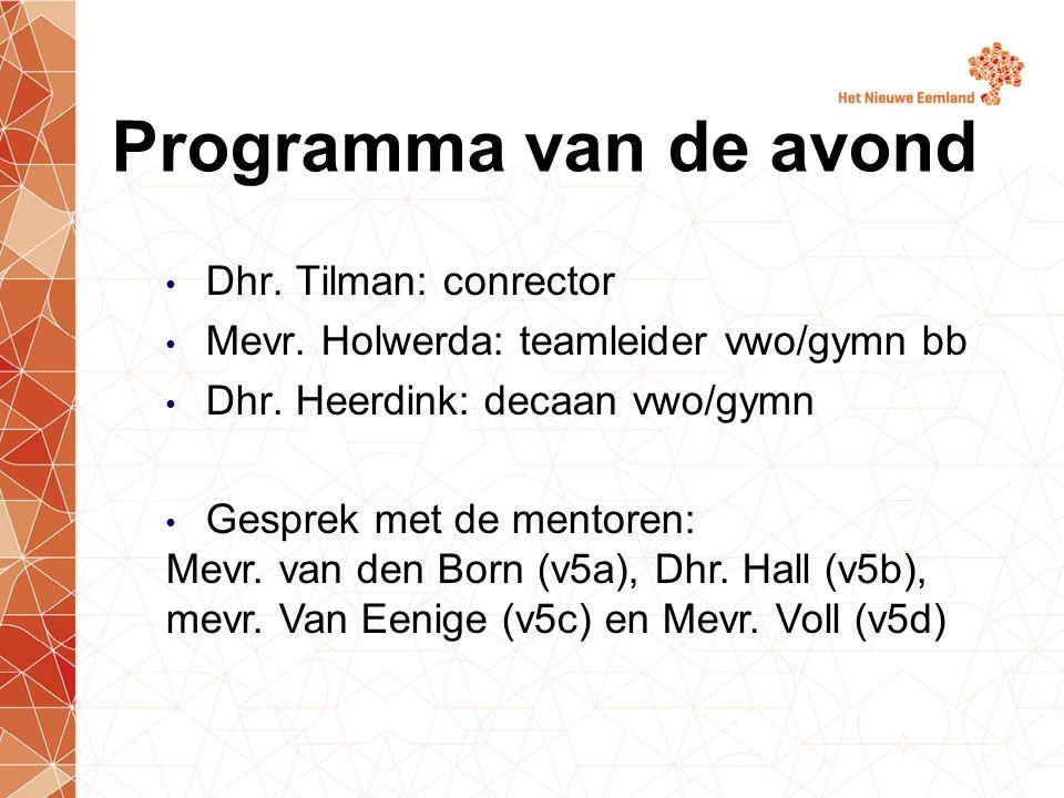 Dhr. Tilman: conrector Mevr. Holwerda: teamleider vwo/gymn bb Dhr.