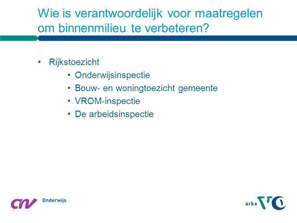 Rijkstoezicht Onderwijsinspectie Bouw- en woningtoezicht gemeente VROM-inspectie De arbeidsinspectie Wie is verantwoordelijk voor maatregelen om binnenmilieu te verbeteren?