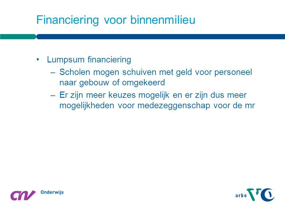 Lumpsum financiering –Scholen mogen schuiven met geld voor personeel naar gebouw of omgekeerd –Er zijn meer keuzes mogelijk en er zijn dus meer mogelijkheden voor medezeggenschap voor de mr Financiering voor binnenmilieu