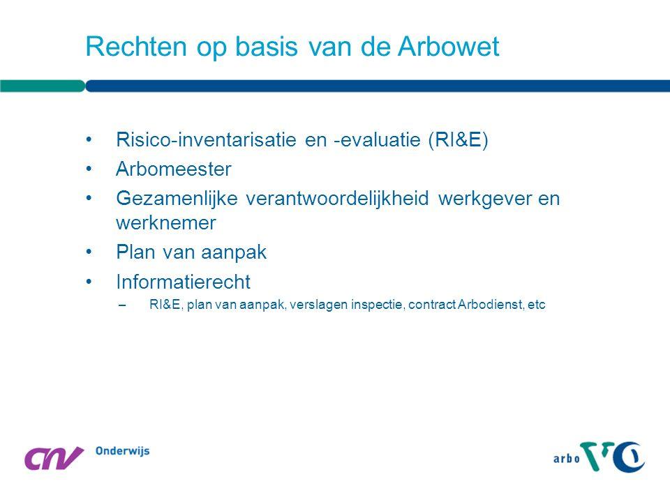 Van Arbowet naar arbobesluit –Temperatuur –Ventilatie –Geluid op de werkplaats Arbocatalogus-VO Rechten op basis van de Arbowet