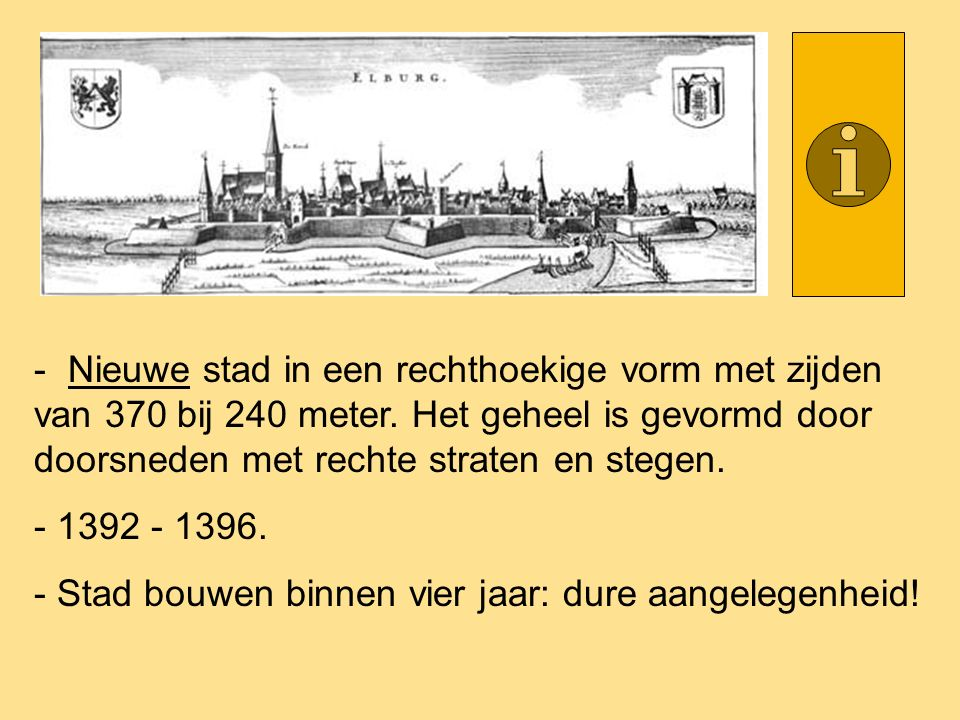 - Nieuwe stad in een rechthoekige vorm met zijden van 370 bij 240 meter. Het geheel is gevormd door doorsneden met rechte straten en stegen. - 1392 -