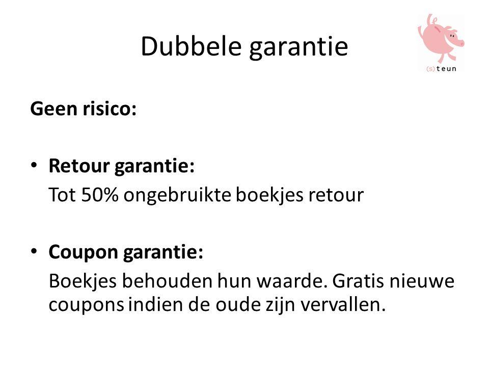 Dubbele garantie Geen risico: Retour garantie: Tot 50% ongebruikte boekjes retour Coupon garantie: Boekjes behouden hun waarde.