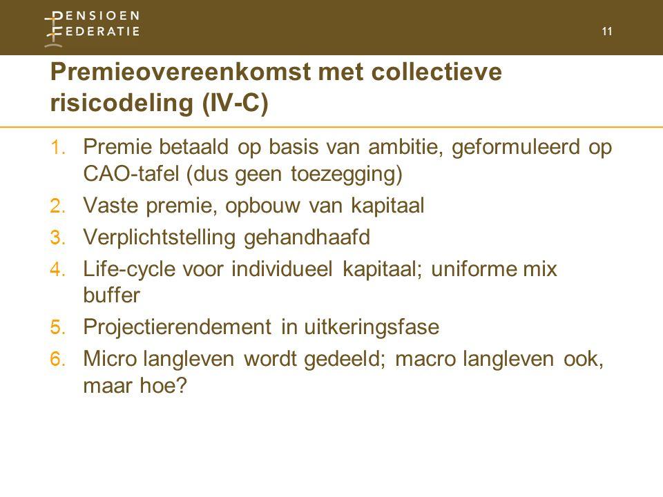 11 Premieovereenkomst met collectieve risicodeling (IV-C) 1. Premie betaald op basis van ambitie, geformuleerd op CAO-tafel (dus geen toezegging) 2. V