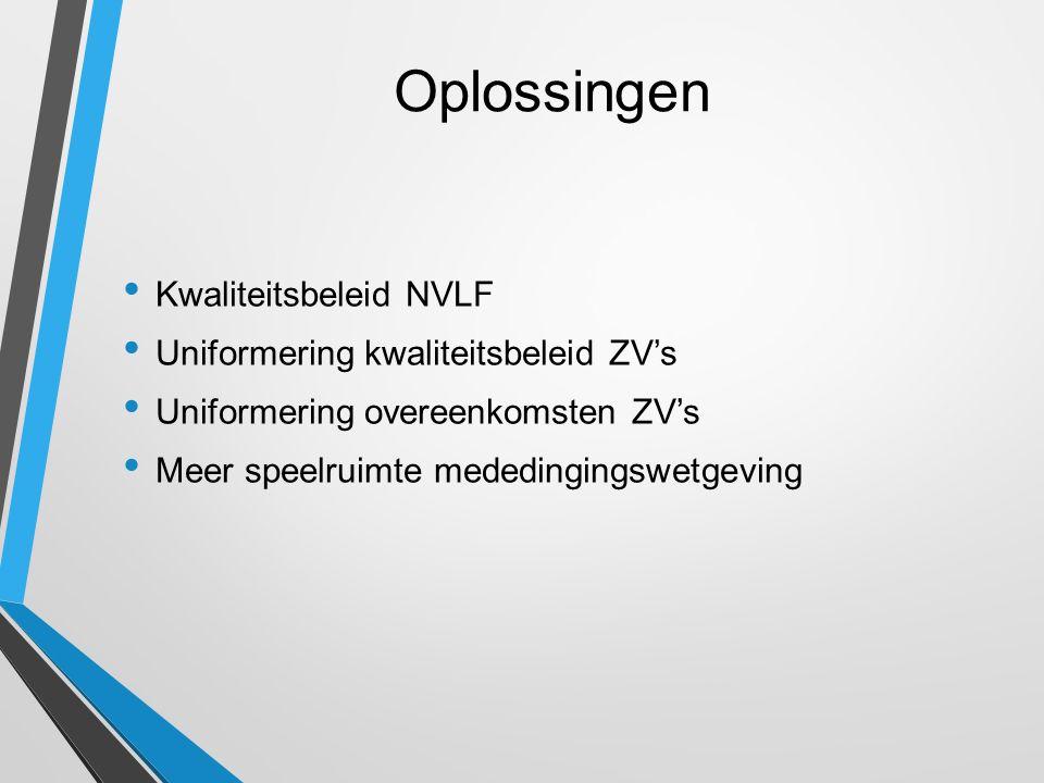 Oplossingen Kwaliteitsbeleid NVLF Uniformering kwaliteitsbeleid ZV's Uniformering overeenkomsten ZV's Meer speelruimte mededingingswetgeving