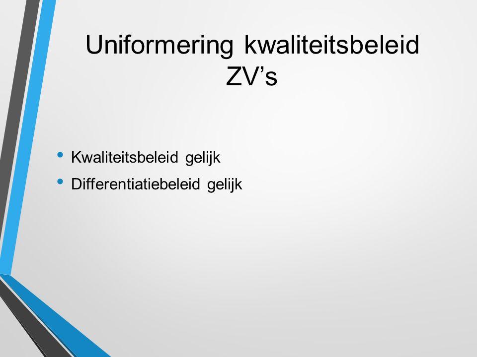 Uniformering kwaliteitsbeleid ZV's Kwaliteitsbeleid gelijk Differentiatiebeleid gelijk