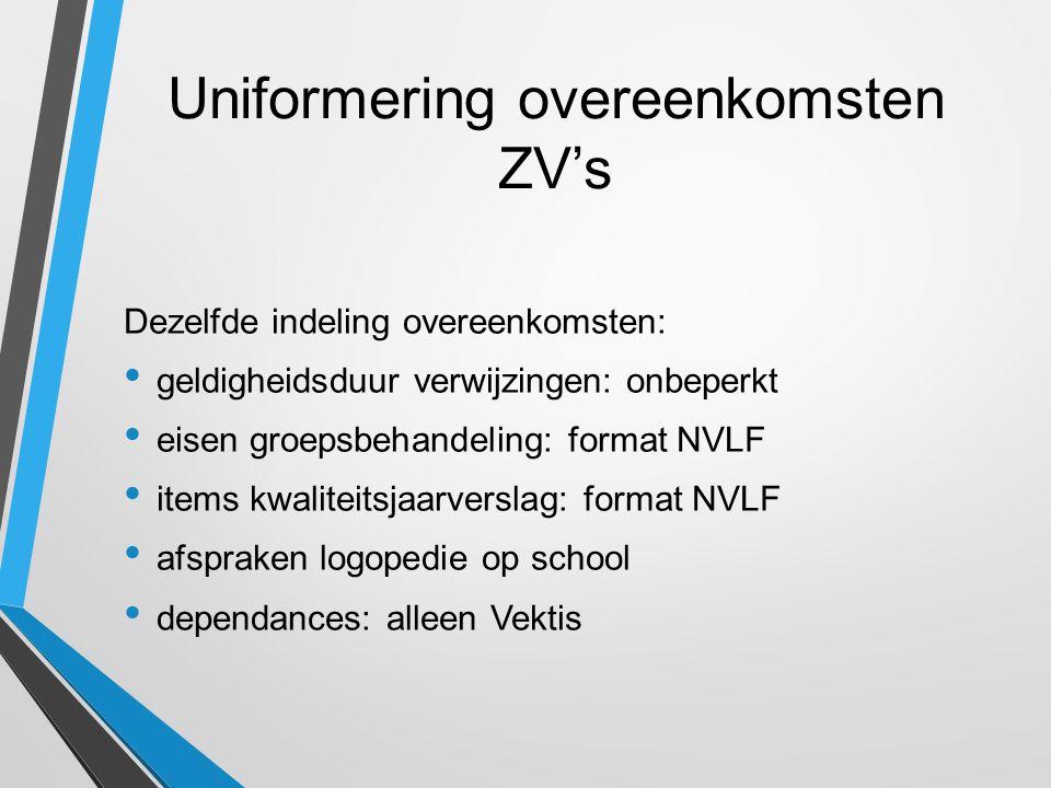 Uniformering overeenkomsten ZV's Dezelfde indeling overeenkomsten: geldigheidsduur verwijzingen: onbeperkt eisen groepsbehandeling: format NVLF items