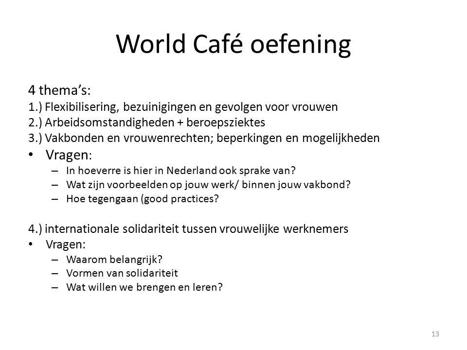 World Café oefening 4 thema's: 1.) Flexibilisering, bezuinigingen en gevolgen voor vrouwen 2.) Arbeidsomstandigheden + beroepsziektes 3.) Vakbonden en vrouwenrechten; beperkingen en mogelijkheden Vragen : – In hoeverre is hier in Nederland ook sprake van.