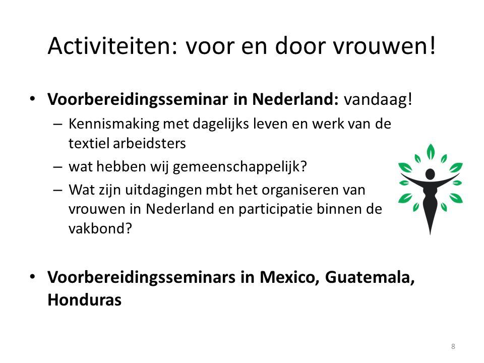 Activiteiten: voor en door vrouwen. Voorbereidingsseminar in Nederland: vandaag.