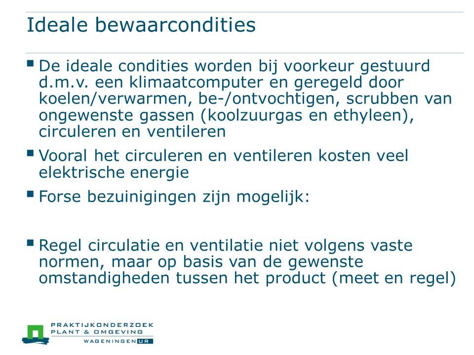 Ideale bewaarcondities  De ideale condities worden bij voorkeur gestuurd d.m.v.