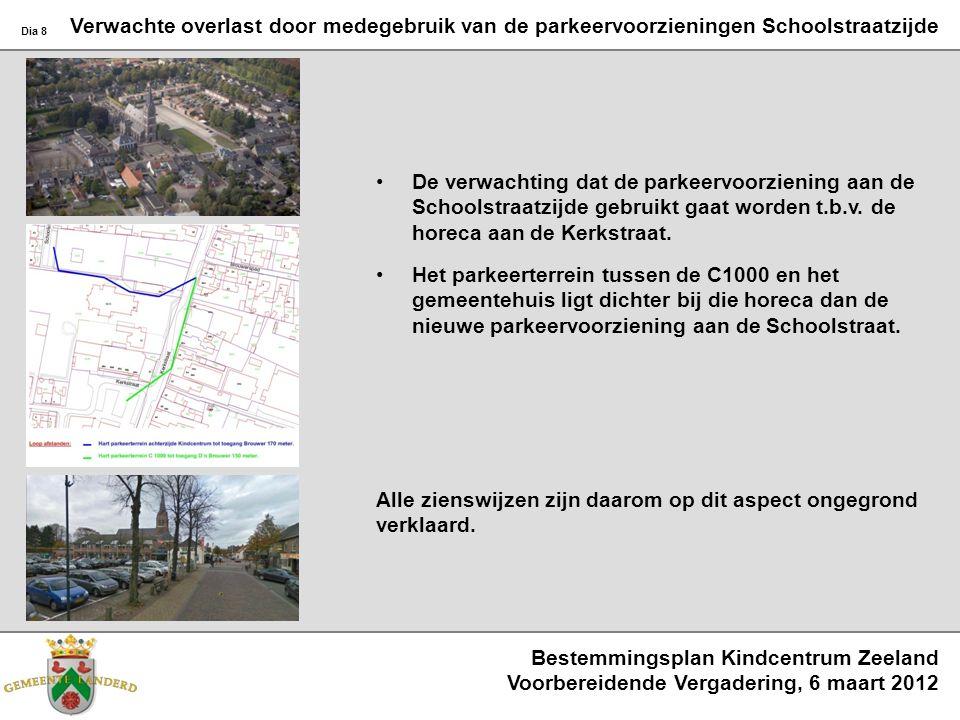 Bestemmingsplan Kindcentrum Zeeland Voorbereidende Vergadering, 6 maart 2012 Dia 8 Verwachte overlast door medegebruik van de parkeervoorzieningen Sch