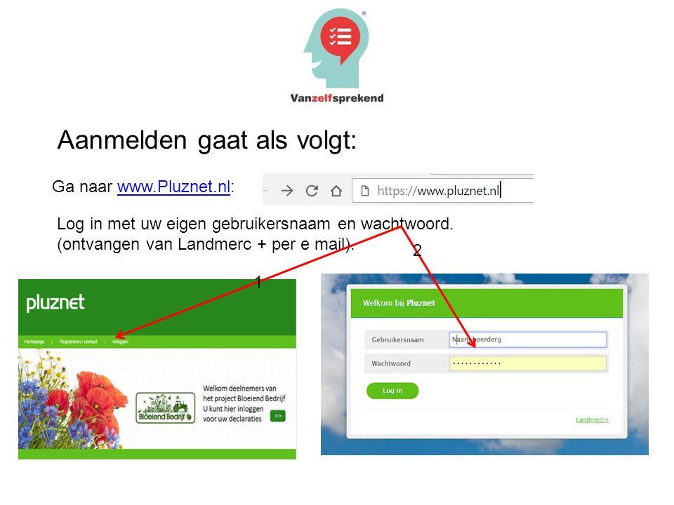 Ga naar www.Pluznet.nl:www.Pluznet.nl Log in met uw eigen gebruikersnaam en wachtwoord. (ontvangen van Landmerc + per e mail). 1 2 Aanmelden gaat als