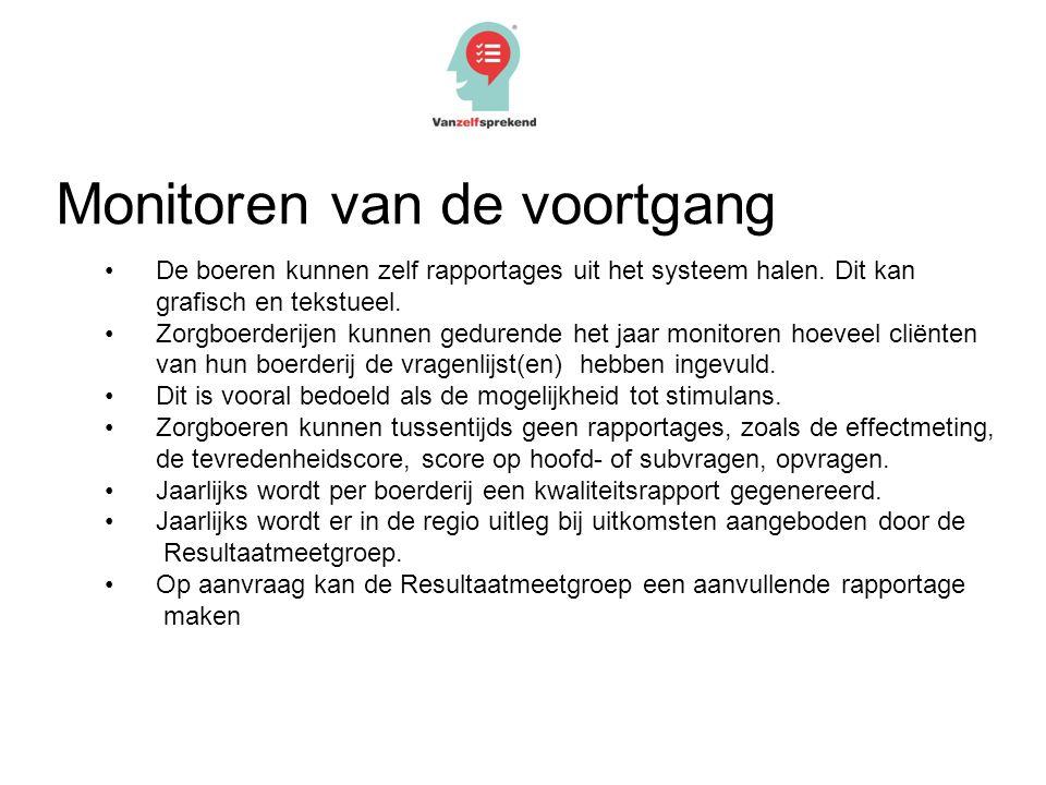 Monitoren van de voortgang De boeren kunnen zelf rapportages uit het systeem halen. Dit kan grafisch en tekstueel. Zorgboerderijen kunnen gedurende he
