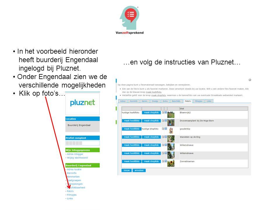 In het voorbeeld hieronder heeft buurderij Engendaal ingelogd bij Pluznet. Onder Engendaal zien we de verschillende mogelijkheden Klik op foto's… …en