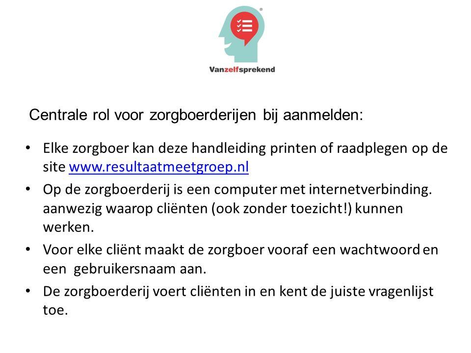 Elke zorgboer kan deze handleiding printen of raadplegen op de site www.resultaatmeetgroep.nlwww.resultaatmeetgroep.nl Op de zorgboerderij is een comp