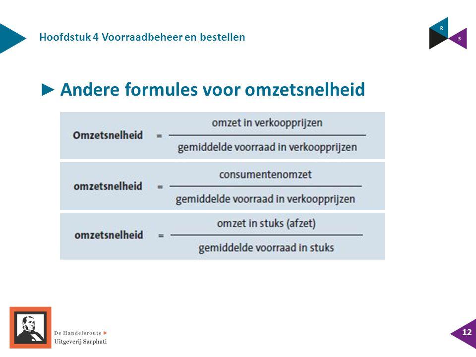 Hoofdstuk 4 Voorraadbeheer en bestellen 12 ► Andere formules voor omzetsnelheid