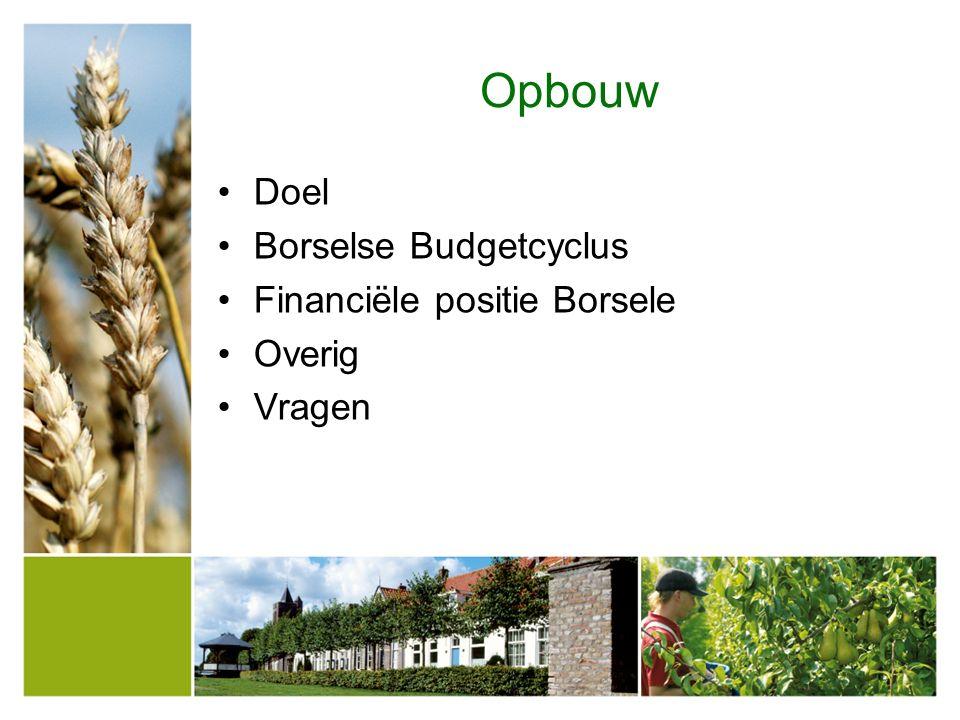 De Borselse budgetcyclus Kadernota 2015-2018 3 juli 2014 Programma begroting 2015 6 november 2014 Coalitieakkoord April/ mei 2014.