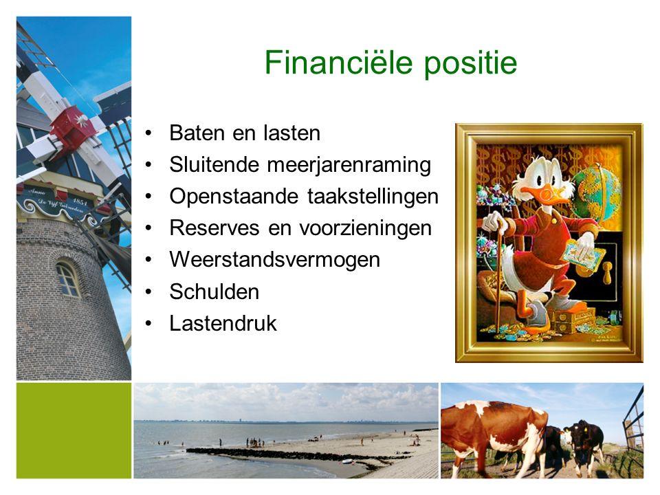 Financiële positie Baten en lasten Sluitende meerjarenraming Openstaande taakstellingen Reserves en voorzieningen Weerstandsvermogen Schulden Lastendruk