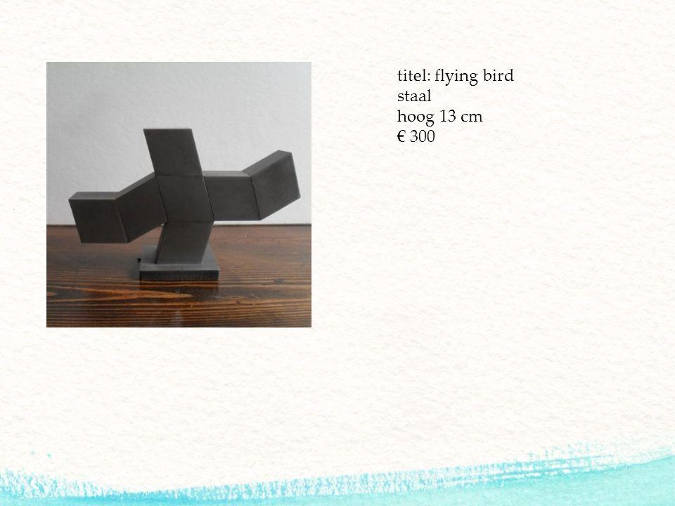titel: flying bird staal hoog 13 cm € 300
