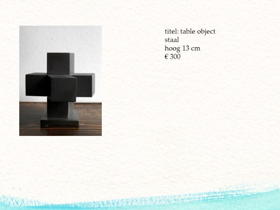 titel: table object staal hoog 13 cm € 300