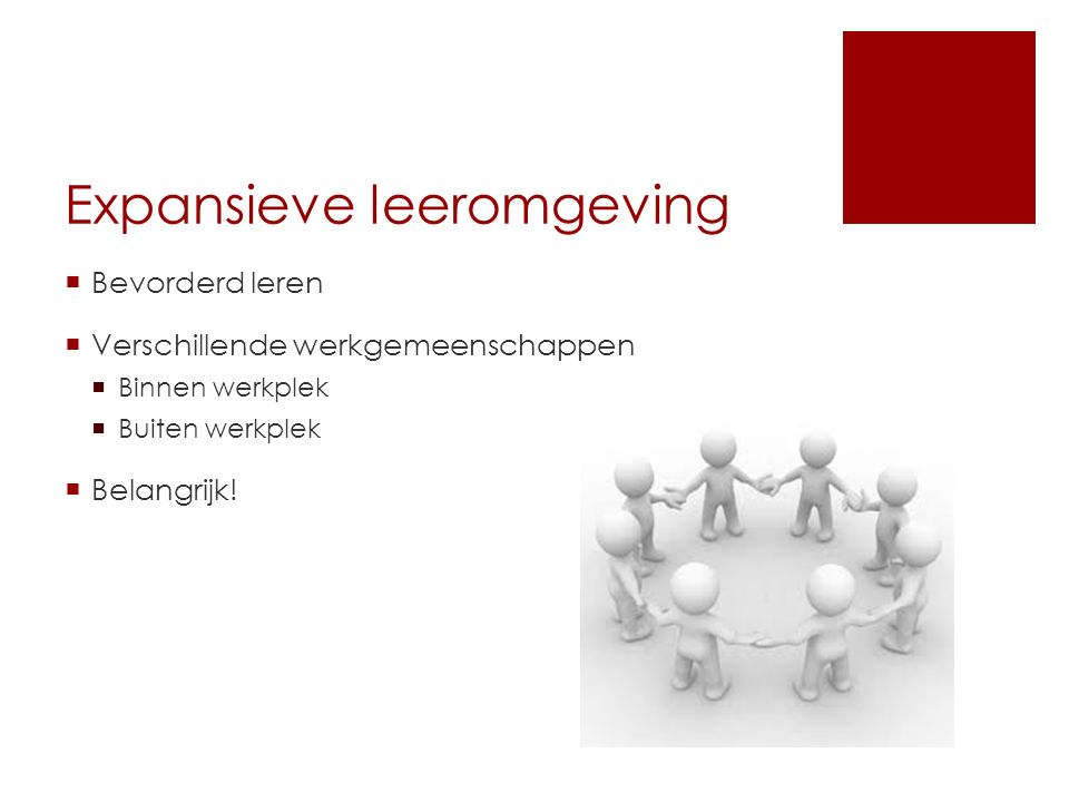 Expansieve leeromgeving  Bevorderd leren  Verschillende werkgemeenschappen  Binnen werkplek  Buiten werkplek  Belangrijk!