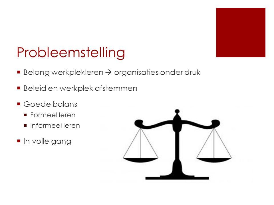 Probleemstelling  Belang werkplekleren  organisaties onder druk  Beleid en werkplek afstemmen  Goede balans  Formeel leren  Informeel leren  In