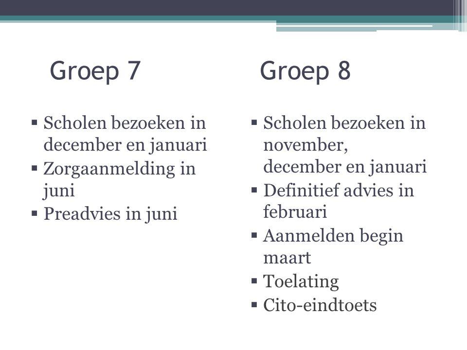 Groep 7 Groep 8  Scholen bezoeken in december en januari  Zorgaanmelding in juni  Preadvies in juni  Scholen bezoeken in november, december en januari  Definitief advies in februari  Aanmelden begin maart  Toelating  Cito-eindtoets