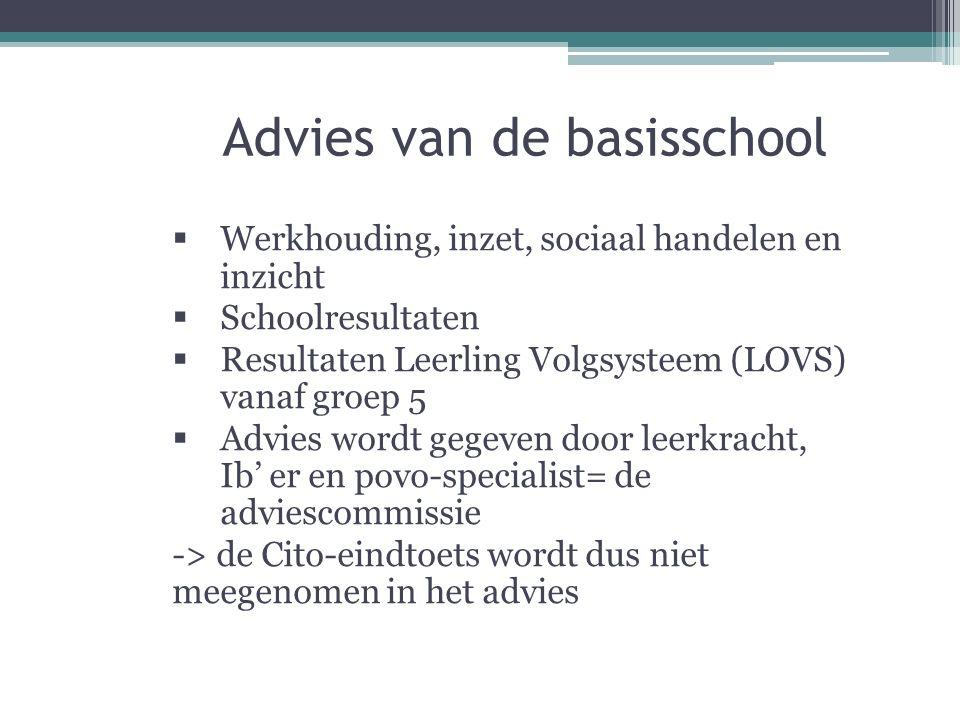 Advies van de basisschool  Werkhouding, inzet, sociaal handelen en inzicht  Schoolresultaten  Resultaten Leerling Volgsysteem (LOVS) vanaf groep 5